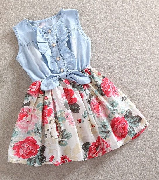 5d5e604d10a7 Toddler Little Girls Denim and Floral Cowgirl by shopaddycora. Sew  something similar for Alice. 2015 Girls Summer casual sleeveless dress  children ...