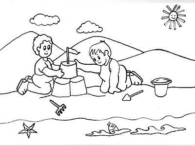 Dibujos De Niños Jugando Haciendo Un Castillo En La Playa Un Dia De