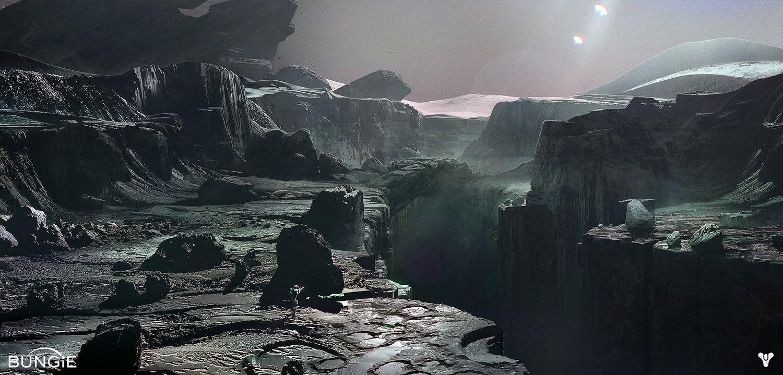 Destiny Moon Landscape Darren Bacon Concept Art World Concept Art Digital Concept Art