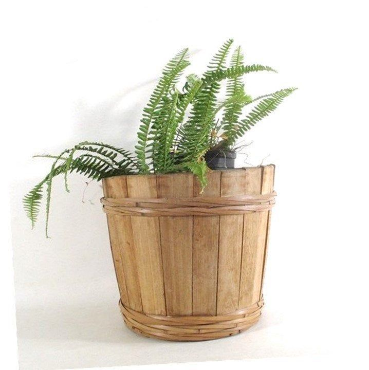 Wooden Planter With Rattan Bindings, Vintage Porch Deck