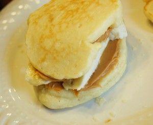 PB & Banana Pancake Sandwich - yummy breakfast for Dyl