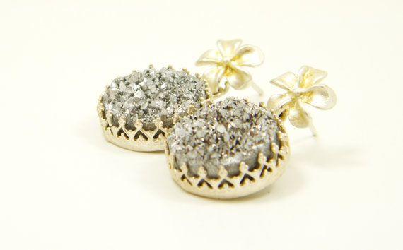 Sterling silver Druzy quartz flower dangle earring by sherijewelry, $46.00