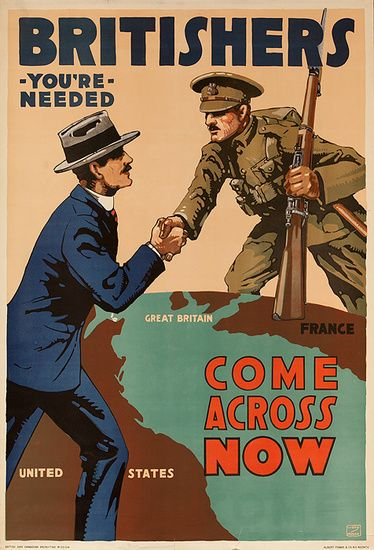 Dp Vintage Posters Britishers You Re Needed Come Across Now Original Vintage British Wwi Poster Wwii Posters Ww1 Propaganda Posters Propaganda Posters