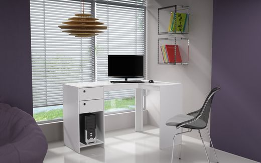Manhattan Comfort Palermo Classic L Desk In White Classic Desk
