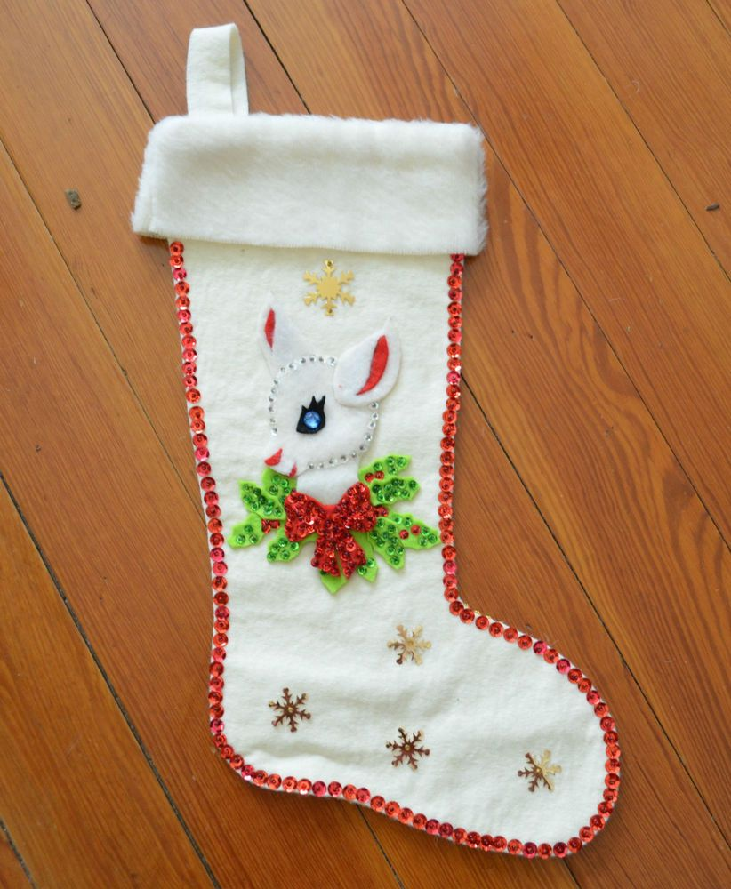 1950 S Vintage Sequined Beaded Stars Doe Deer Felt Stocking Cream