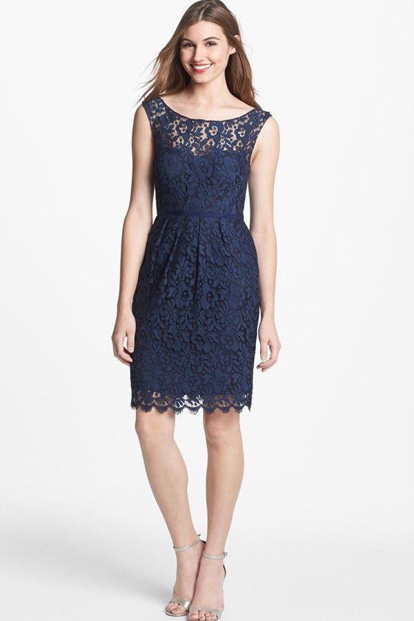 Blue Short Lace Bridesmaid Dresses