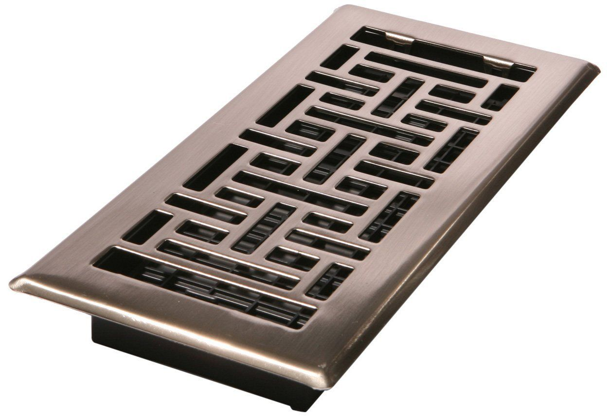 Decor Grates Ajh410 Nkl 4 Inch By 10 Inch Oriental Floor Register Brushed Nickel Floor Heating Registe Floor Registers Air Vent Covers Decorative Vent Cover
