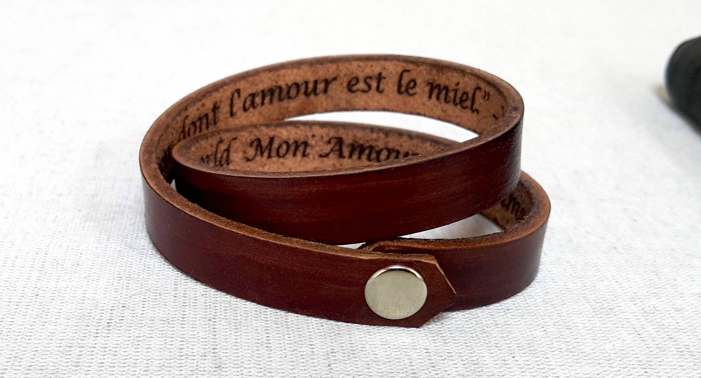 8572733715a95 Engraved Double Wrap Bracelet Gift For Boyfriend Mens Gift Custom ...