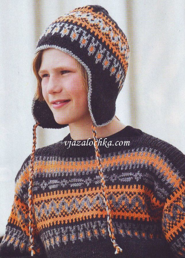 Схема вязания шапки с норвежским узором