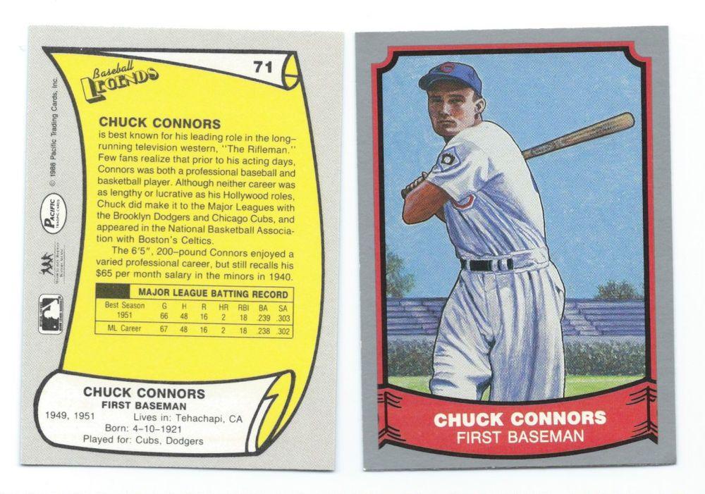 Chuck Connors The Rifleman Baseball Card Chicago Cubs 1951 Baseball