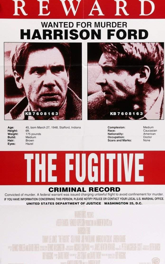 Fugitive 1993 Harrison Ford Tommy Lee Jones Movie Posters