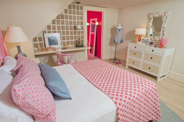 Zimmergestaltung ideen m dchen dachschr ge creme rosa for Zimmergestaltung jugendzimmer