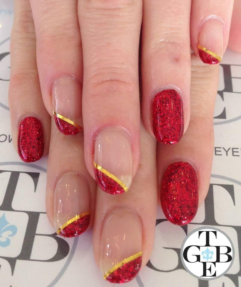#nailart #nails #twobrowneyedgirls #losangeles #tbeg #naildesign #nailswag #nailpolish #polishart #nailartstudio #nailit #nailgasm #art #gel #rockstar #red #goldstrips