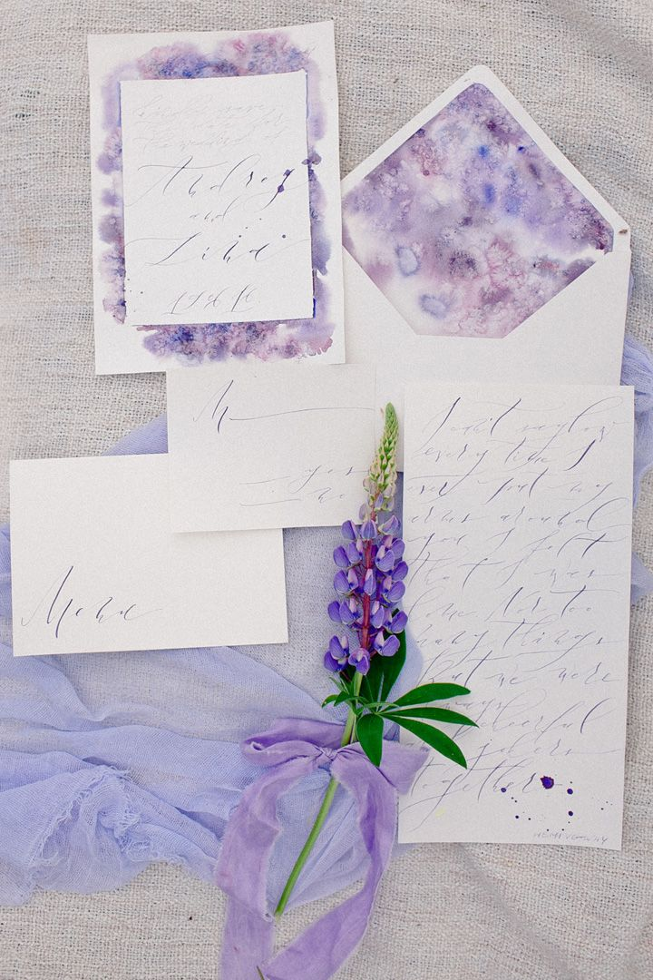 Violet water color wedding invitation | fabmood.com #weddinginvites #watercolor #wedidnginvitations