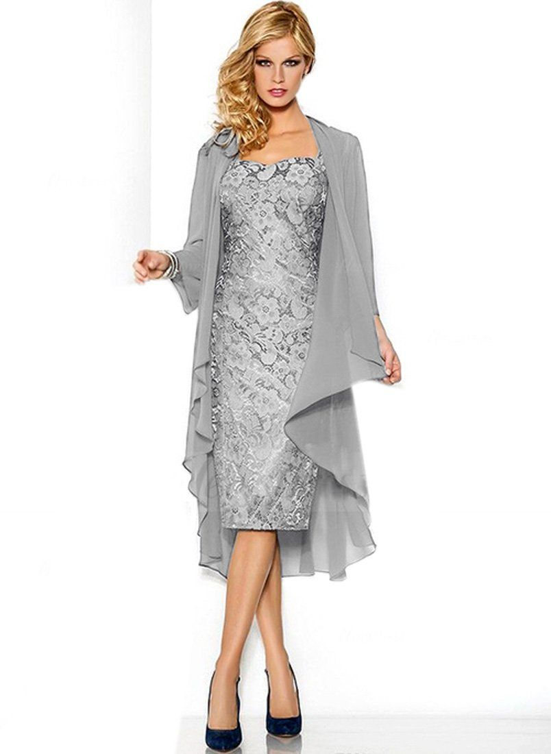 Mother dresses for fall wedding  Shine Love Lace Mother Dresses Long Sleeves Chiffon Jacket Evening