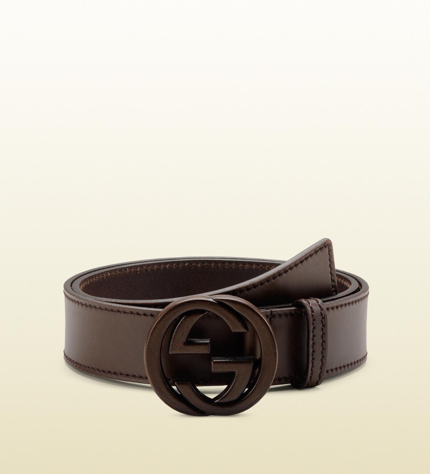 0ee8eef366b Men s Brown Belt with Leather Interlocking G Buckle