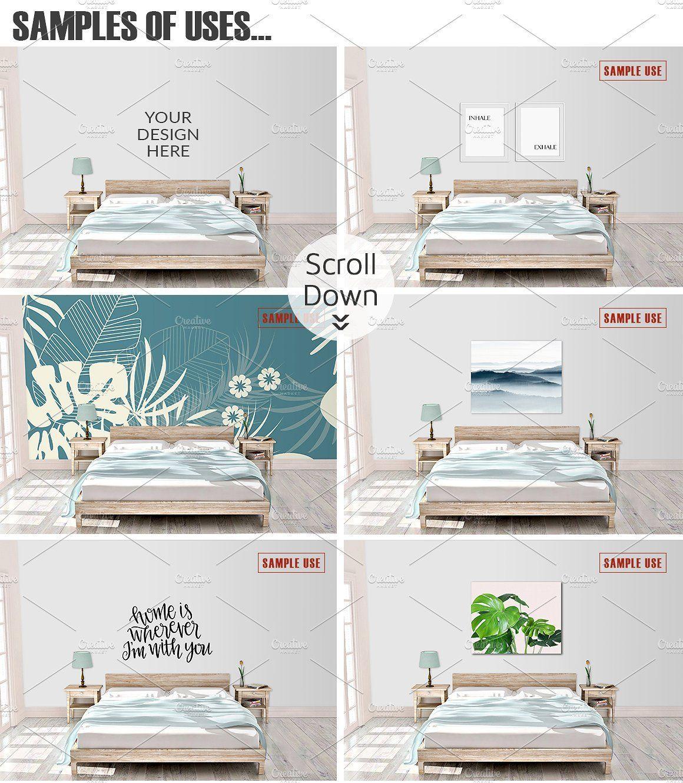 Interior Wall Frame Canvas Mockup Format Flat Photoshop Psd