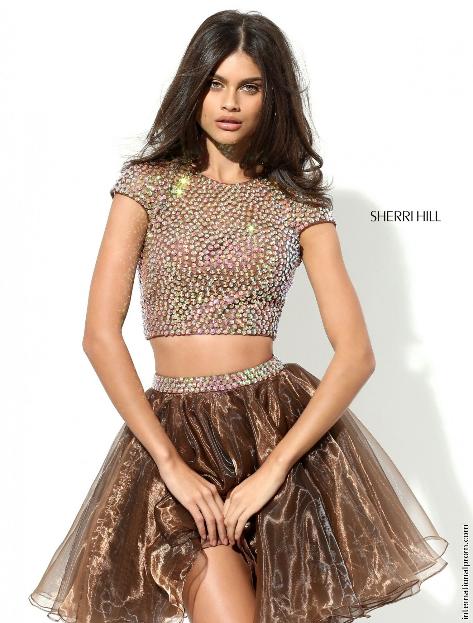 Sherri Hill 50560 Formal Dress Is A Two Piece With Cap Sleeves And Beautifully Designed Bead Wo Short Brown Dress 2 Piece Homecoming Dresses Homecoming Dresses [ 2000 x 1518 Pixel ]
