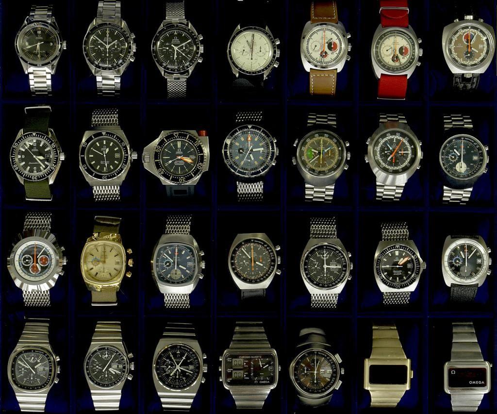 Top row - Seamaster 60, 3 Speedmasters, 2 Seamaster 'Soccer Timer' chronographs, Chronostop Bullhead. Second row - Seamaster 300, Seamaster 200, PloProf, unsure, Flightmaster x 2, Pilot line speedmaster mk 3 with blue horizon subdials! Third row - Seamaster, 2 1040 Seamaster chronographs, 2 Speedmaster Mk II's, Seamaster 200m, Seamaster 861 chronograph. Bottom row - Speedmaster mk V, Speedmaster mk 4.5, Speedmaster 125, Chrono/Quartz, Speedsonic, Omega Time Computer x 2