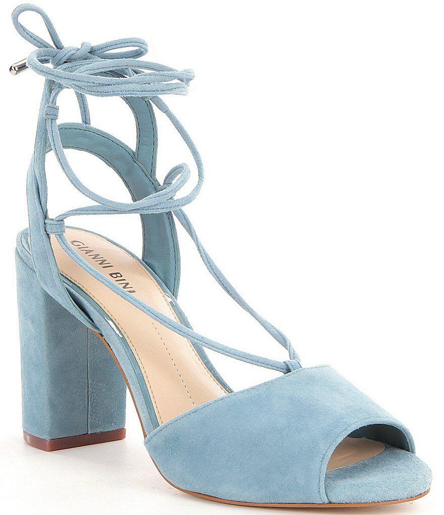 1af500ea417 Light Blue Gianni Bini Keelin Suede Block Heel Lace-Up Sandals