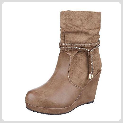 Keilstiefeletten Damen Schuhe Plateau Keilabsatz Wedge Warm