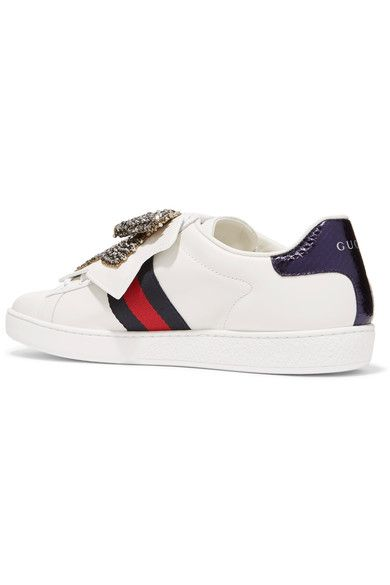 3bf2029d80c Gucci - Ace Crystal-embellished Watersnake-trimmed Leather Sneakers - White