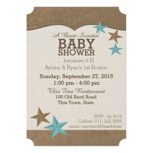 Western Look Country Baby Shower Invitation With Brown And Teal Stars