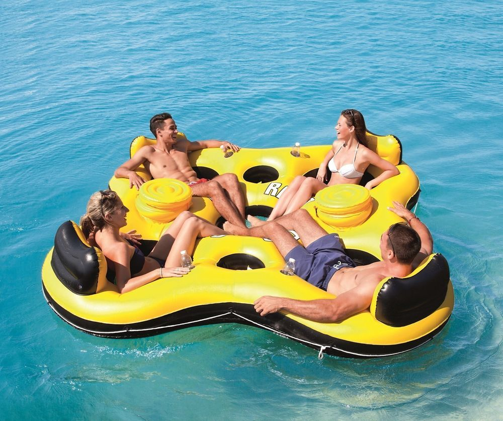 Floating Bar Party Raft 4 Person Inflatable Lounger Water Float Lake River Tube Floating Island Raft Lake Rafts Inflatable Island