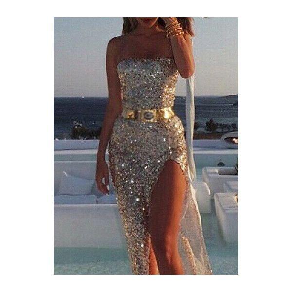2c6043f3d54 RoseWe Sequin Embellished Side Slit Golden Maxi Dress ( 23) ❤ liked on  Polyvore featuring dresses