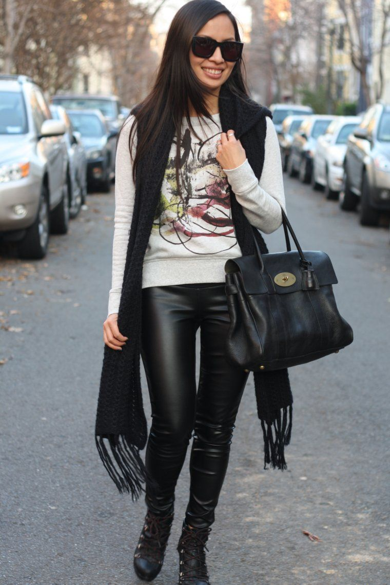 An adorable outfit by Tammy - love her combination of faux leather ...