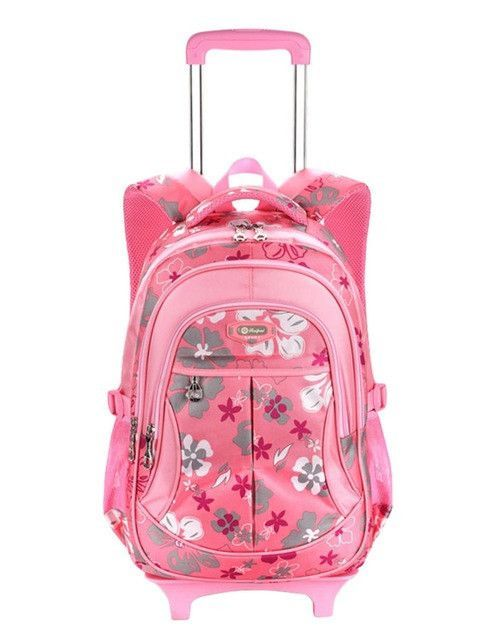 New Children Trolley Backpack School Bags For Grils Wheeled Bag Student  Detachable Rolling Backpacks Women travel bag Mochila c8b184c953445