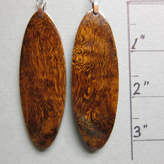 Pheasant Wood X Large Long Drop Exotic Earrings Artnmore