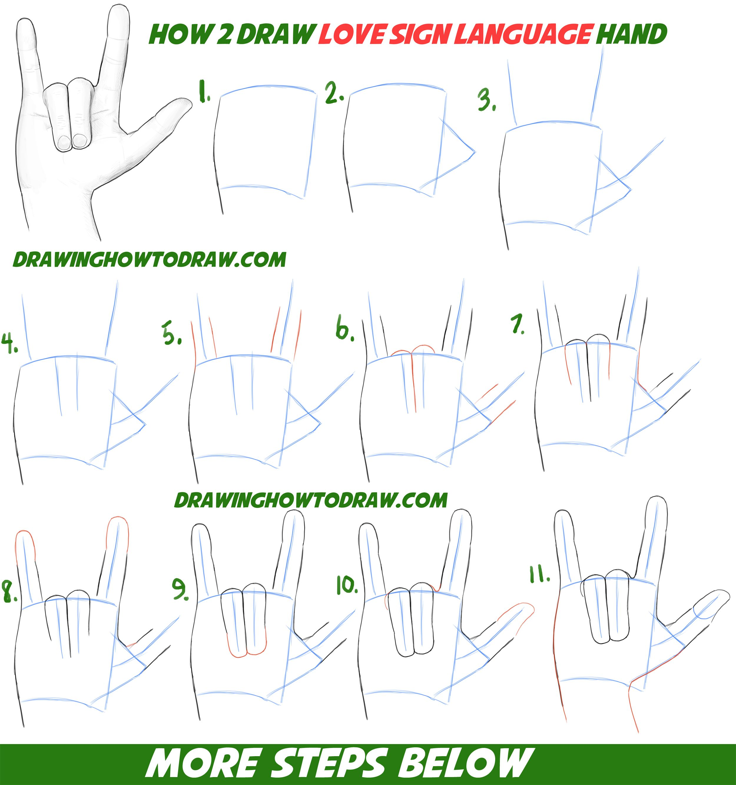 Draw Love Hands - Sign Language Easy Step Drawing Tutorial