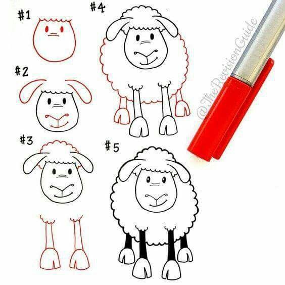 How to: Schaf zeichnen   Drawings   Pinterest   Schaf zeichnen ...