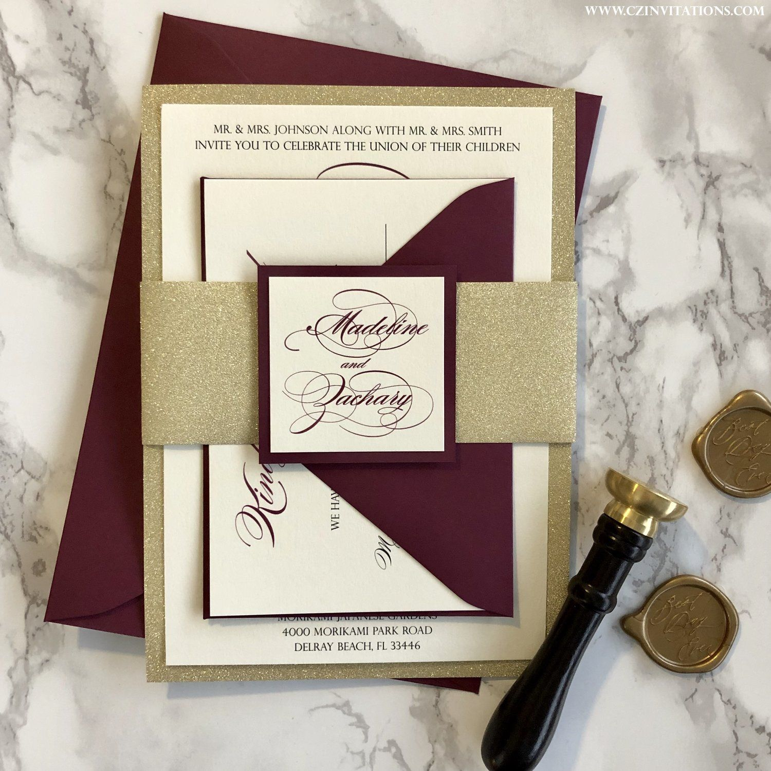 Burgundy and Gold Wedding Invitation with Glitter Belly