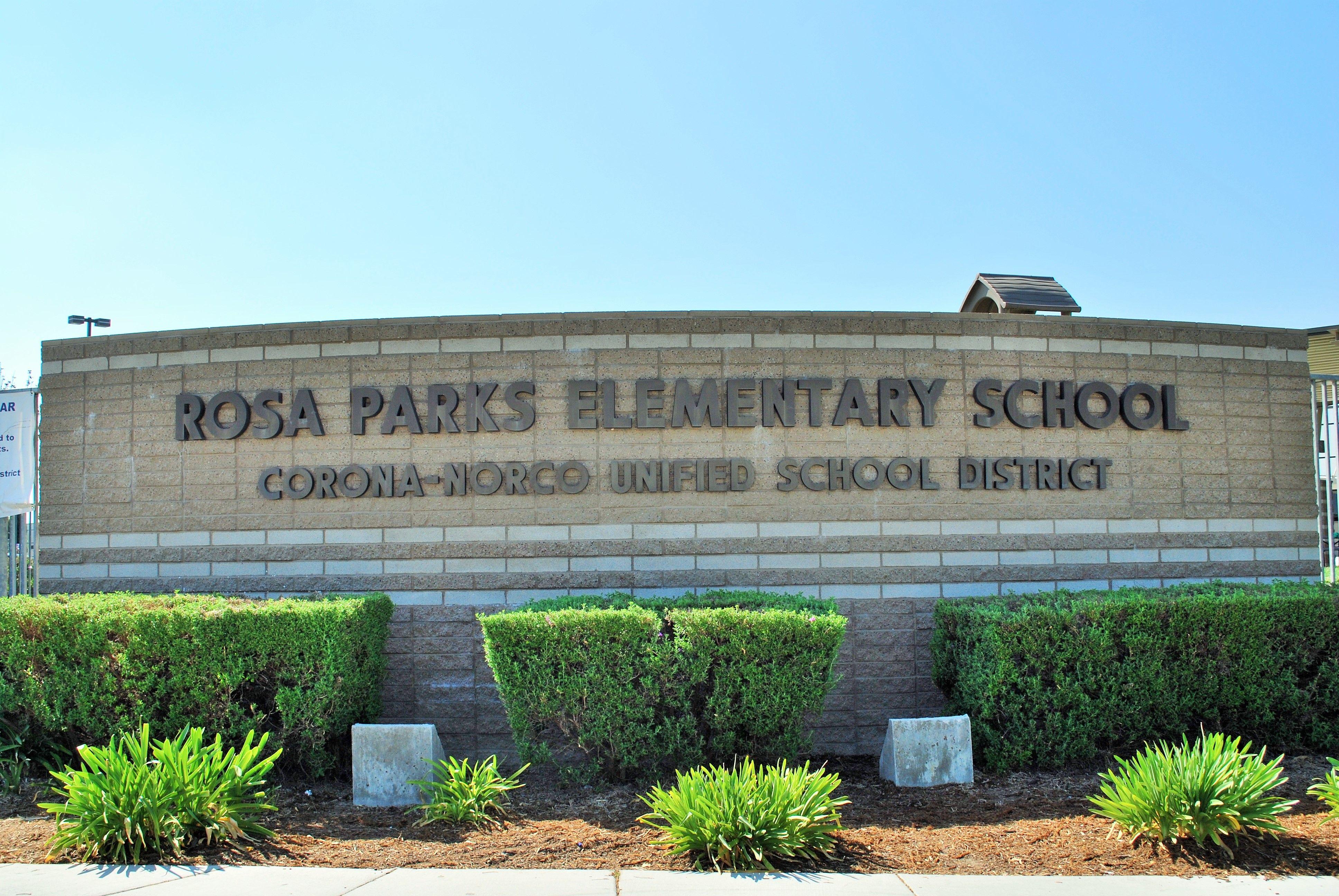 Rosa Parks Elementary School Entrance Sign In Eastvale California