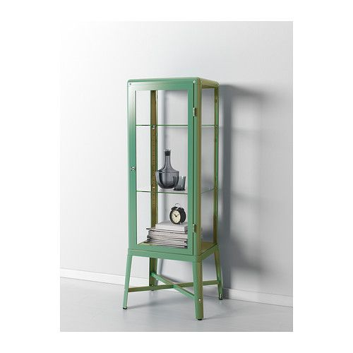 FABRIKÖR Glass-door cabinet, beige | Glass doors, Cabinet lighting ...
