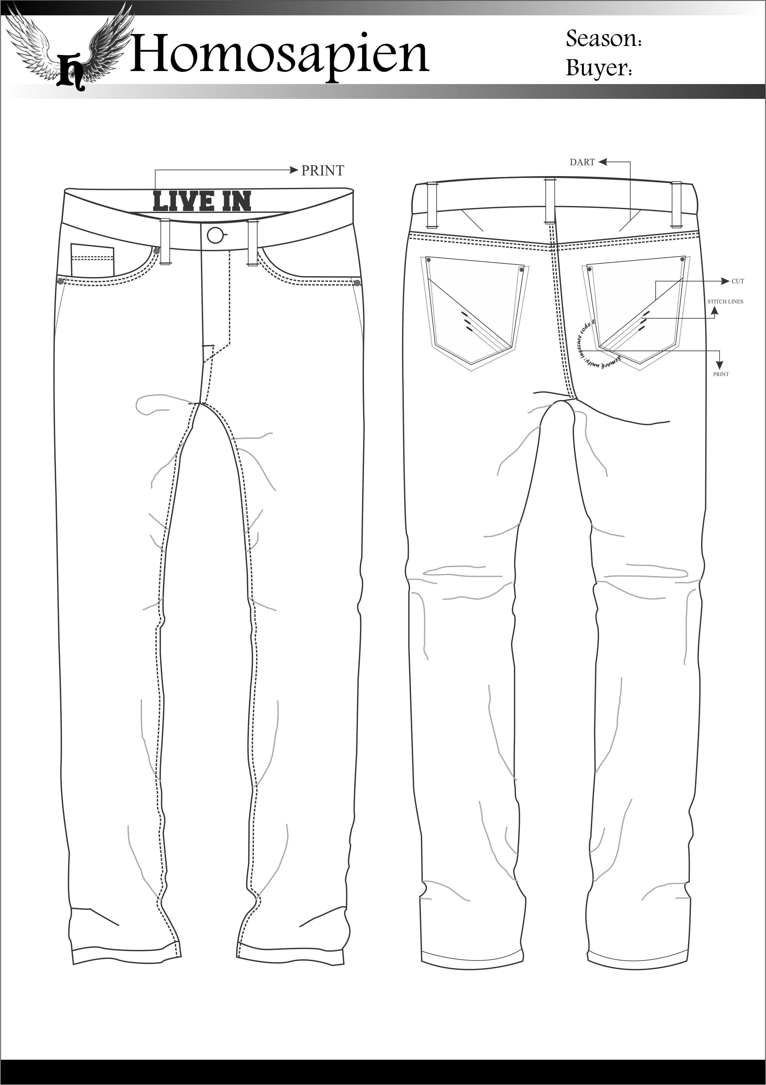 Men S Denim Flat Sketch Com Imagens Desenhos De Moda