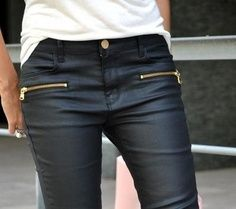 Leather jeans.