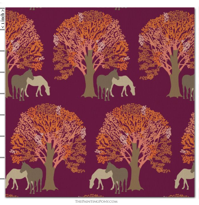 Autumn Horse Patterned Fabric by the Yard #horsepattern
