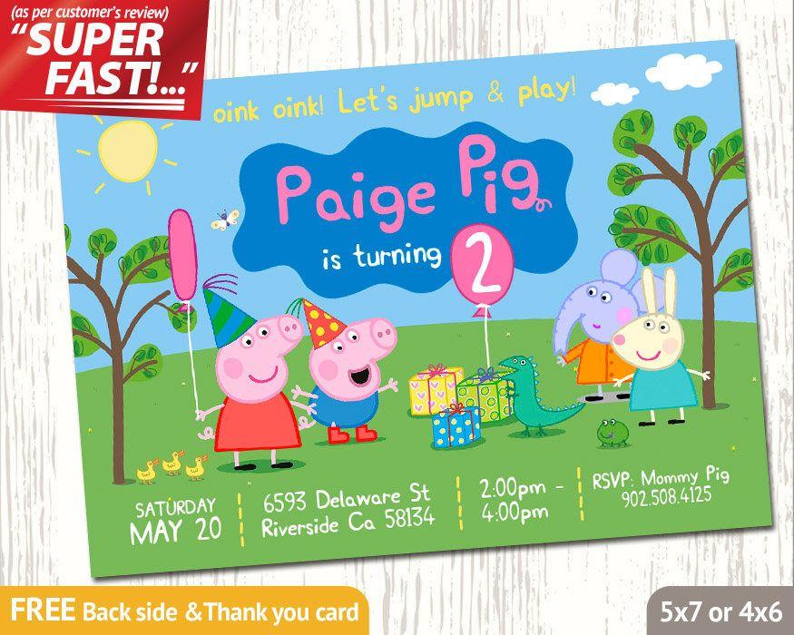 PEPPA PIG INVITATION, Peppa Birthday Invitation, Peppa Invitation ...