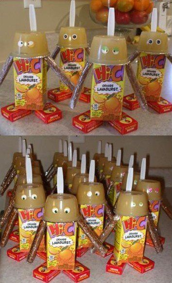This is so cute! A great idea for snack time for a classroom.    Juice Box Robot: The arms... break a pretzel rod in half, wrap in saran-wrap with enough space between the halves to hang over the sides of the juice box. Tape the center of the saran-wrap to the box. Hot-glue the applesauce head and mini boxes of raisins as feet. Tape the spoon antenna on the back of the applesauce cup. Use whatever eyes you like. SOOO CUTE!