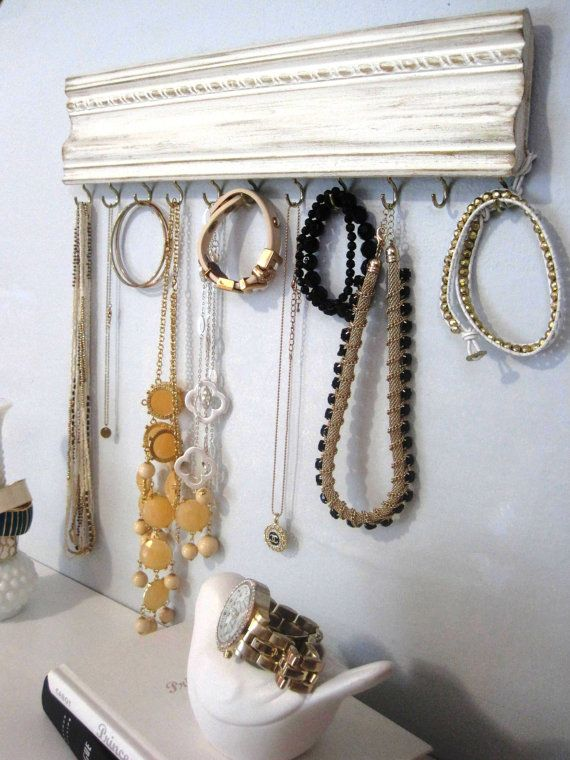 Jewelry Hanger White Distressed Gold Crown Molding Wall Hanging