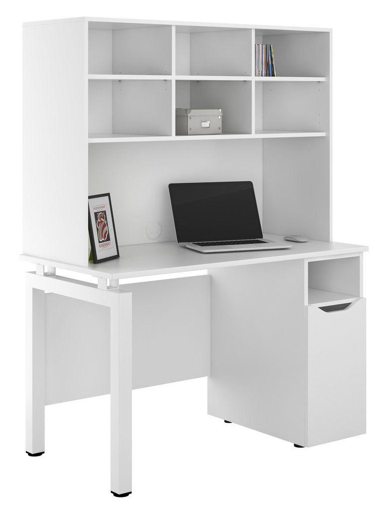 Uclic White Desk With Bench Legs Base Unit Upper Storage