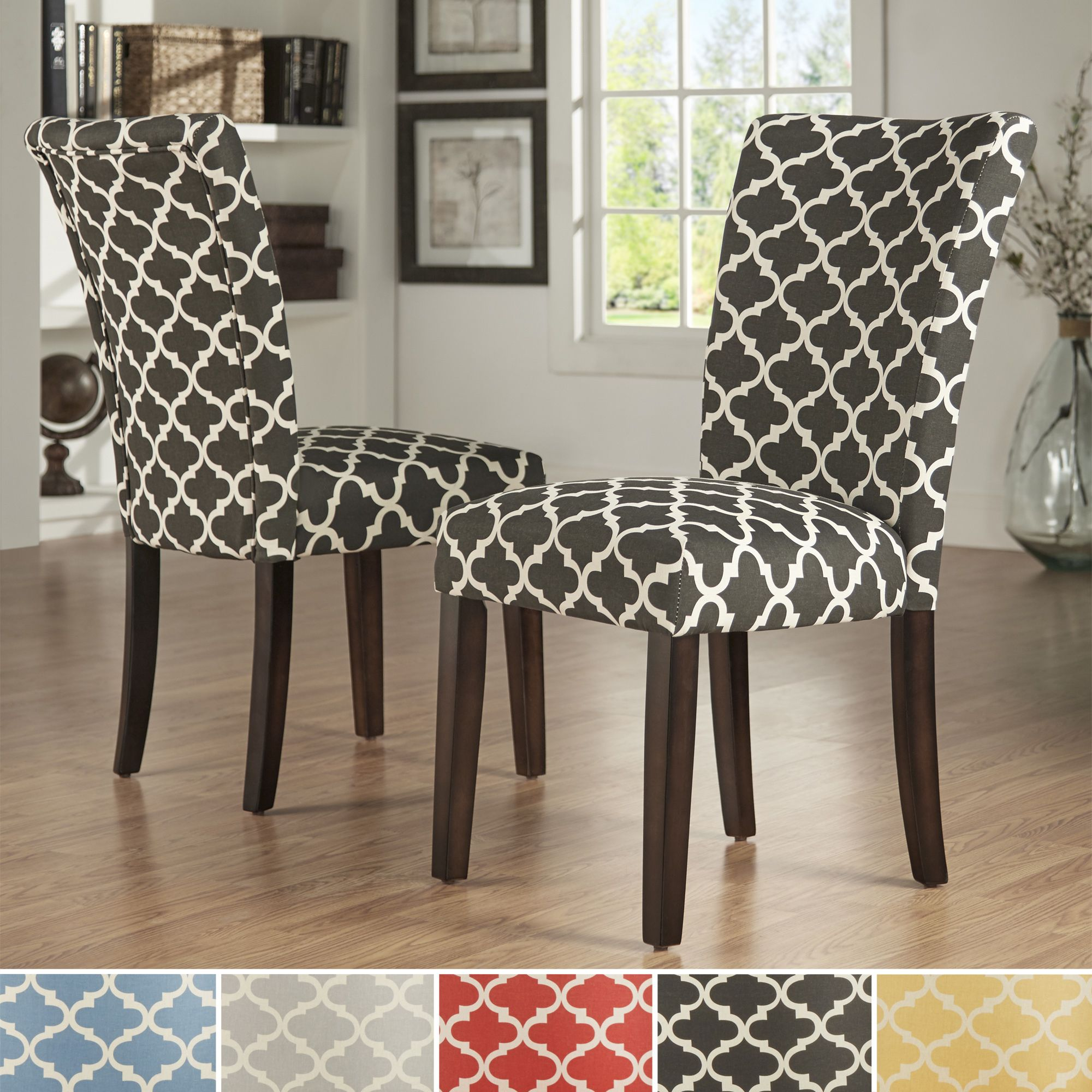 aqua dining room chair covers unusual leather inspire q catherine moroccan pattern fabric parsons