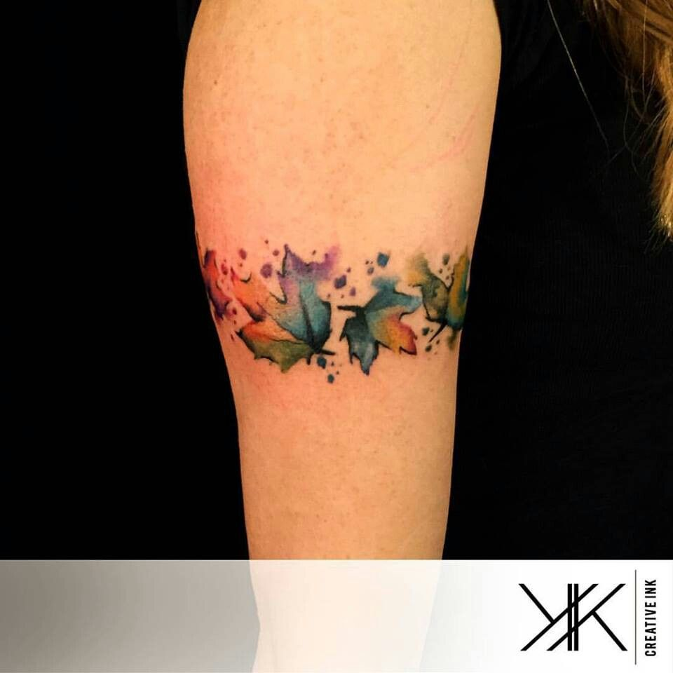 Koray Karagozler Watercolor Leaves Autumn Tattoo Watercolor