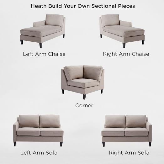 Build Your Own Heath Sectional Pieces West Elm Modern Sofa