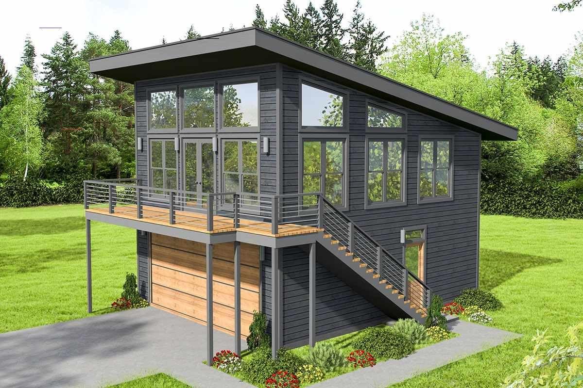 Plan 68640vr Modern Mountain Home Plan With Drive Under Garage Mountainhomes Garagenwohnungsplane Haus Plane Design Fur Zuhause