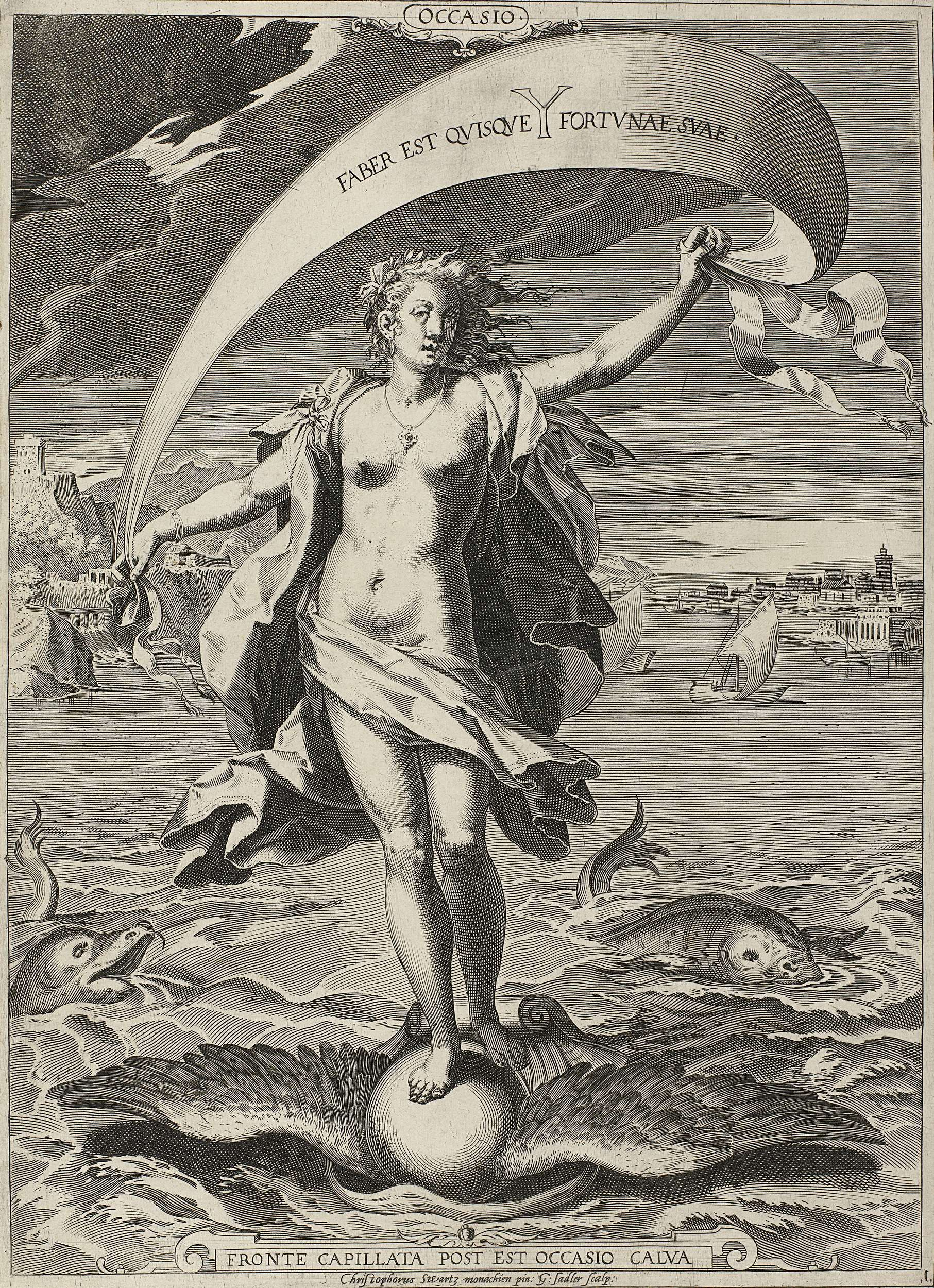 Aegidius Sadeler | Gelegenheid / Occasio, Aegidius Sadeler, 1580 - 1600 |  De personificatie Gelegenheid (Occasio) staat op een gevleugelde bol die op  een ...