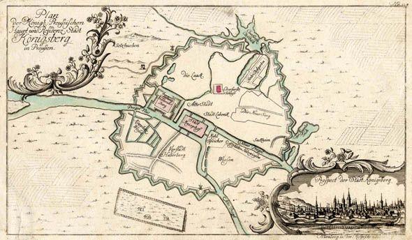 """Befestigungsgrundriß, """"Plan der Königl. Preussischen Haupt und Residenz Stadt Königsberg in Preussen"""".  altkol. Kupferstich b. Raspe, um 1760, 20 x 35  Mit kleiner Ansicht v. Königsberg unten rechts (6,5 x 12)."""